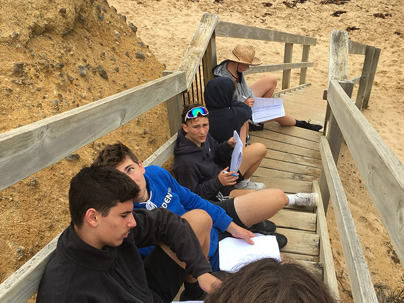 Students on some wooden steps over the beach completing work in their workbooks