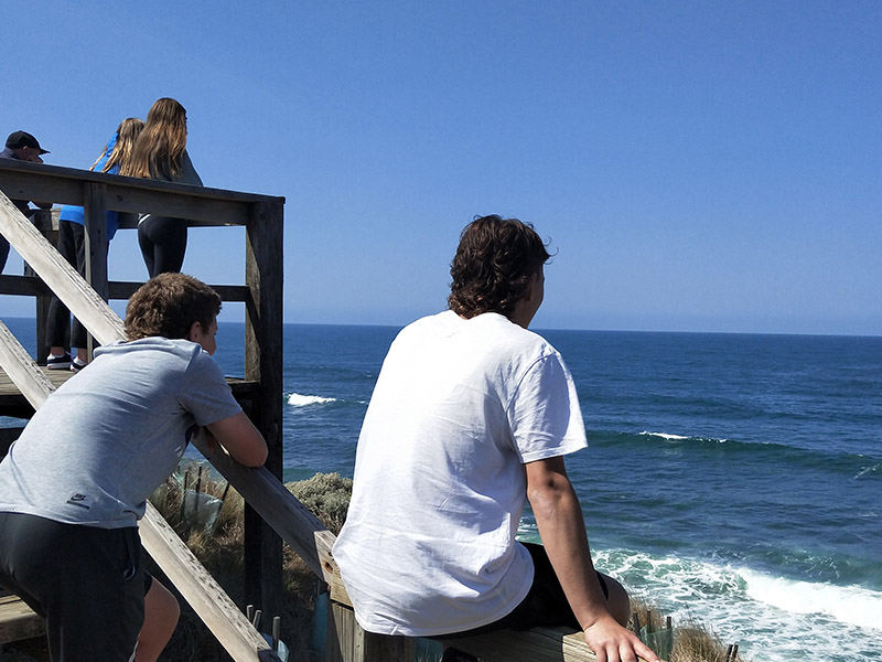 students at a lookout overlooking the ocean