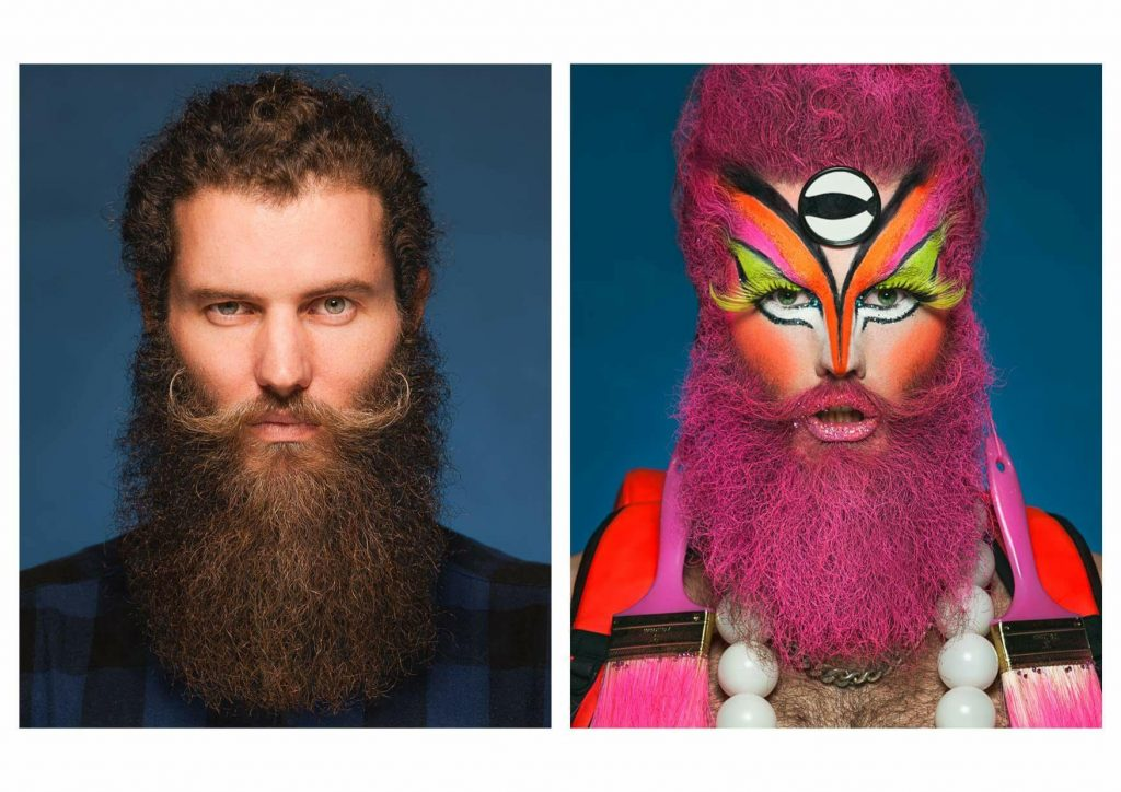 Side by side photographs of Artist Daniel Newell and Daniel as 'Dandrogeny'. The Photo on the left shows Daniel with a brown full beard and curled moustache looking directly at camera with an intense expression. The image beside on the right is almost identical in composition but in this one Daniel made up as their character 'Dandrodgeny' with bright Orange, Pink and Yellow make up and large neon yellow false eyelashes. Their beard and hair have been coloured pink.